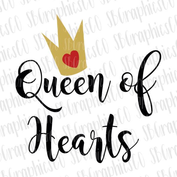 600x600 Queen Of Hearts Svg, Eps, Dxf, Png, Cricut Or Cameo, Scan N Cut