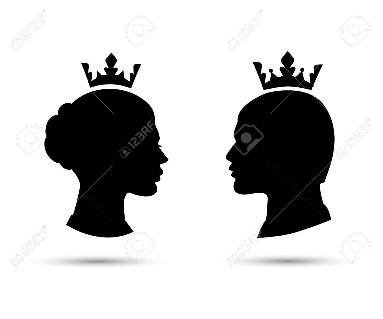 1300x1083 King And Queen Heads, King And Queen Face, Black Silhouette