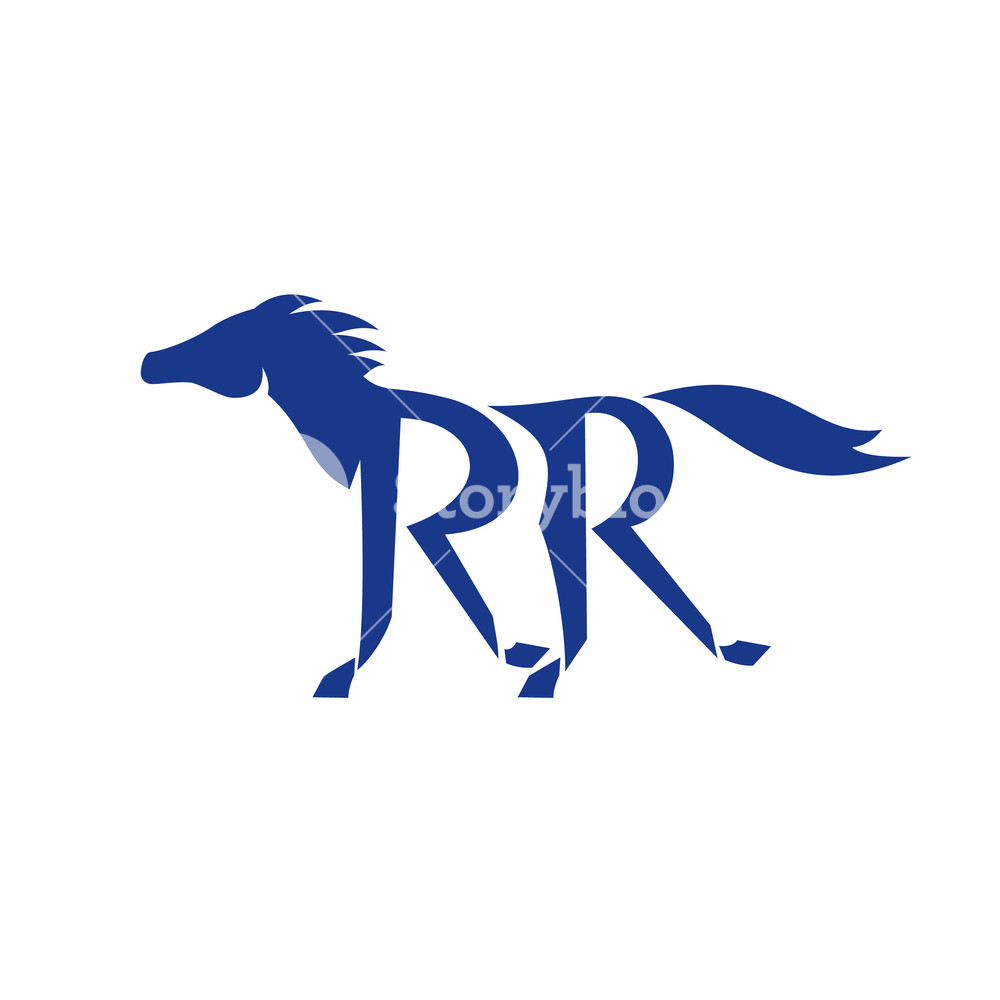 1000x1000 Illustration Of A Dark Blue Horse Silhouette Running With Double R