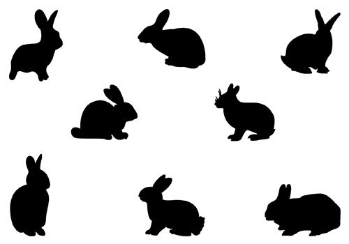 500x350 Rabbit Head Clipart Silhouette Collection