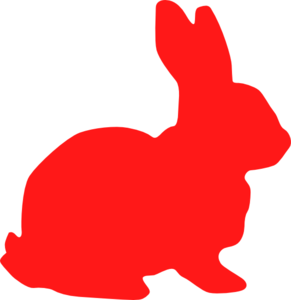 291x300 Red Bunny Silhouette Clip Art