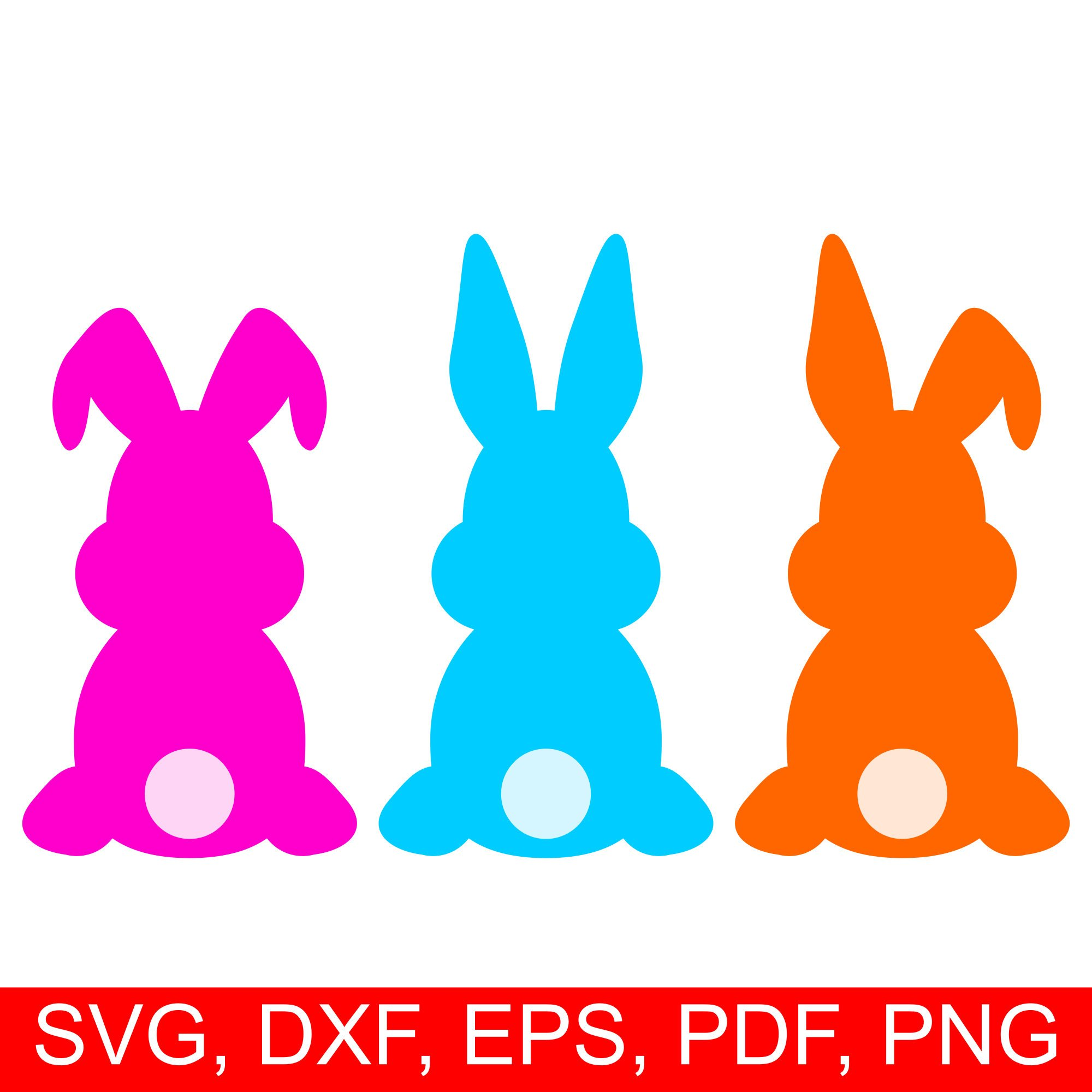 2000x2000 Easter Bunny Svg Cut File And Easter Rabbit Clipart, Set Of 3