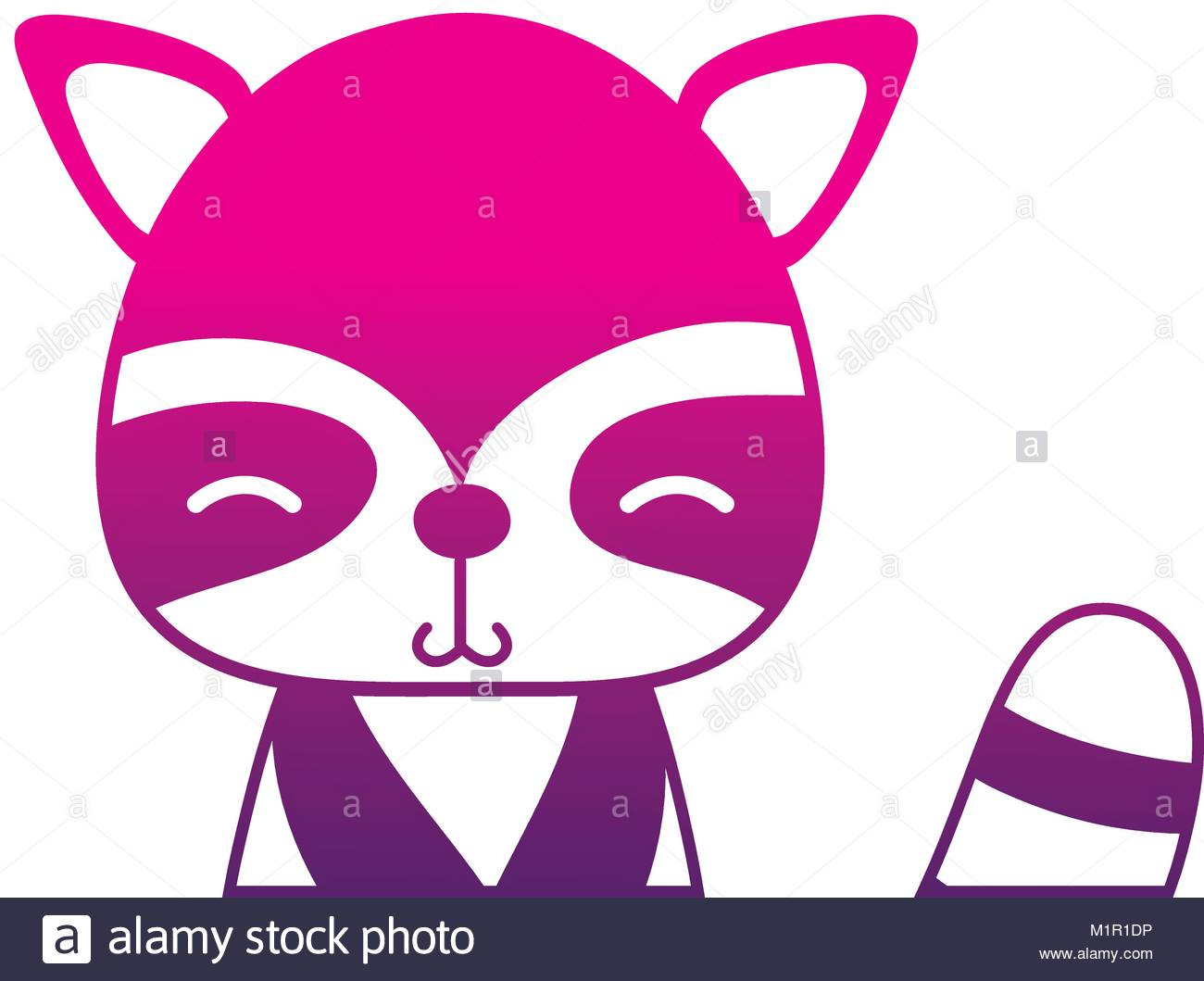 1300x1059 Color Silhouette Adorable And Shy Raccoon Wild Animal Stock Vector