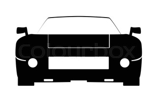 320x209 A Fast Car In Silhouette Over A White Background Stock Vector