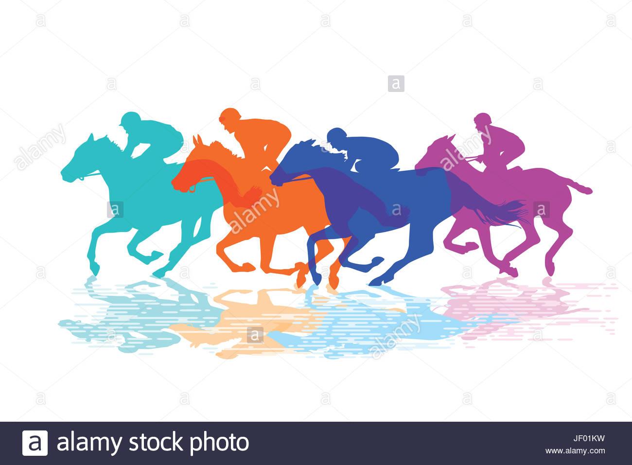1300x956 Horse Racing, Racehorses With Jockeys Stock Photo, Royalty Free