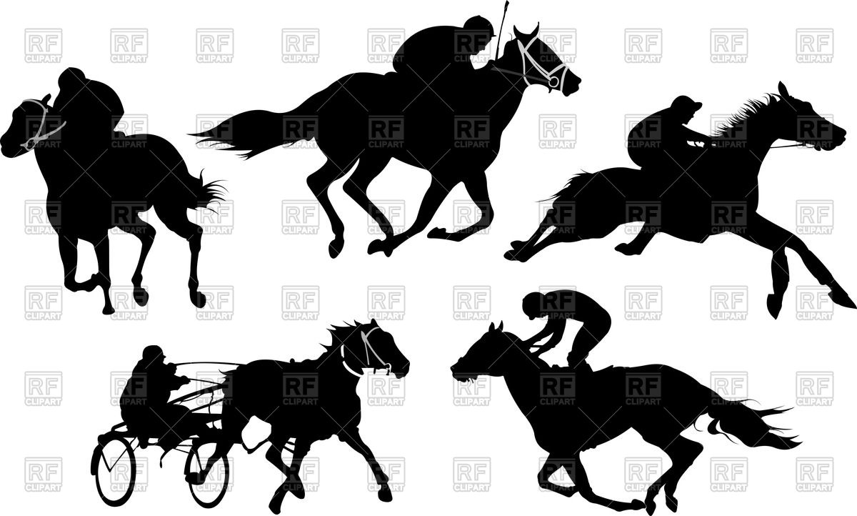 1200x722 Horse Racing Silhouettes Royalty Free Vector Clip Art Image