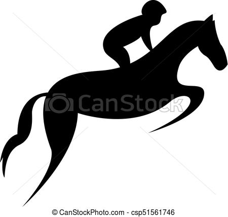 450x428 Simplified Horse Race. Equestrian Sport. Silhouette Of Eps