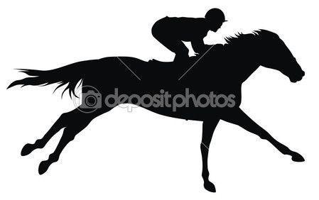 449x282 Race Horse Silhouette Horse Racing Stock Vector Dimitar