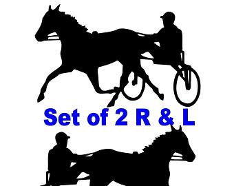 340x270 Sulky Horse Racing Vinyl Decals Set Of 2 17 X 10.5 Horse