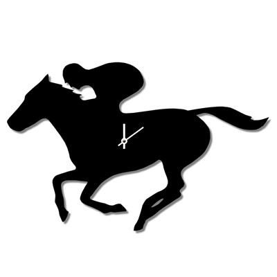400x400 Wagging Tail Race Horse Clock