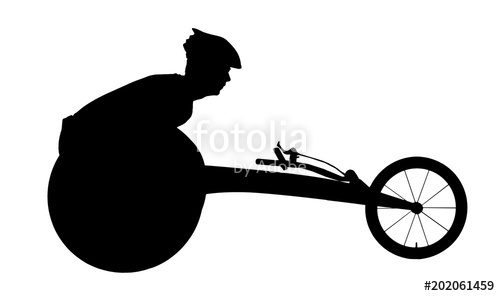 500x296 Vector Silhouette Of Sportsman Disabled In A Racing Wheelchair