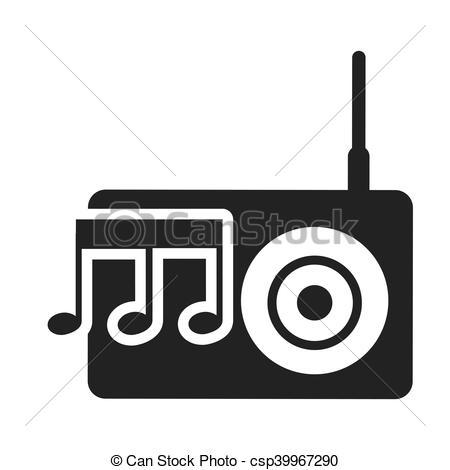 450x470 Radio Retro Silhouette Isolated Icon Vector Illustration Eps