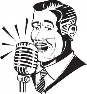 279x300 Black And White Silhouette Of A Vintage Man Singing On The Radio