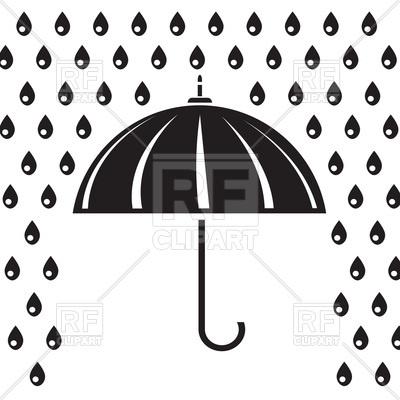 400x400 Silhouette Of Umbrella In The Rain Royalty Free Vector Clip Art