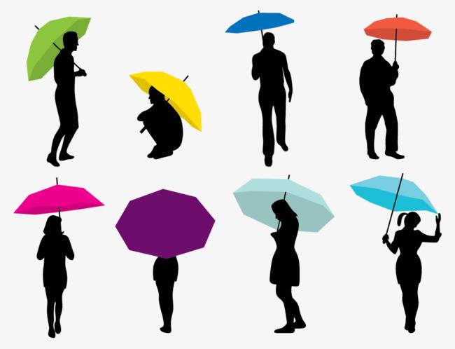 650x498 Vector People Walking In The Rain, Colored Umbrella, Black