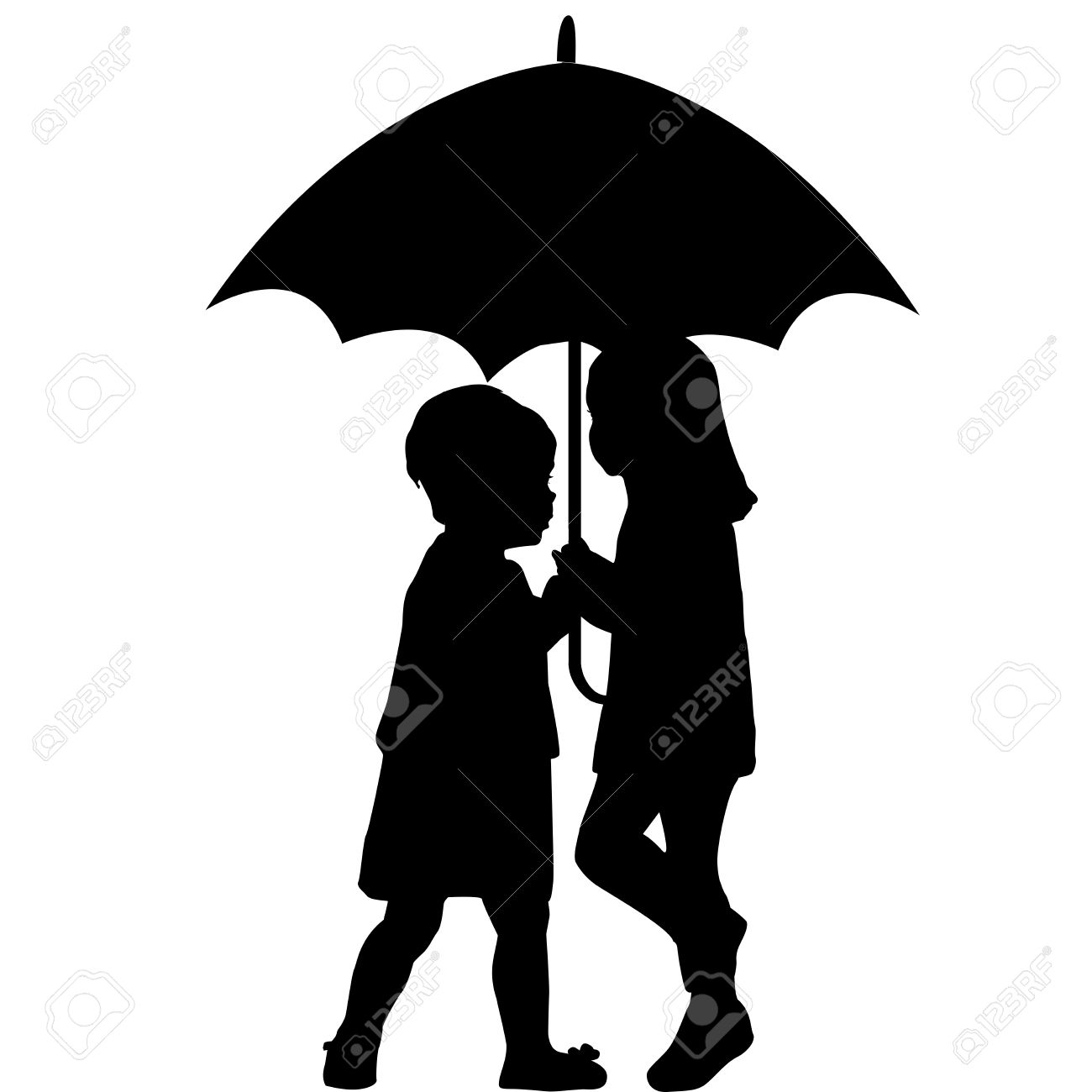 1300x1300 Clipart Little Girl Sitting With Umbrella Silhouette