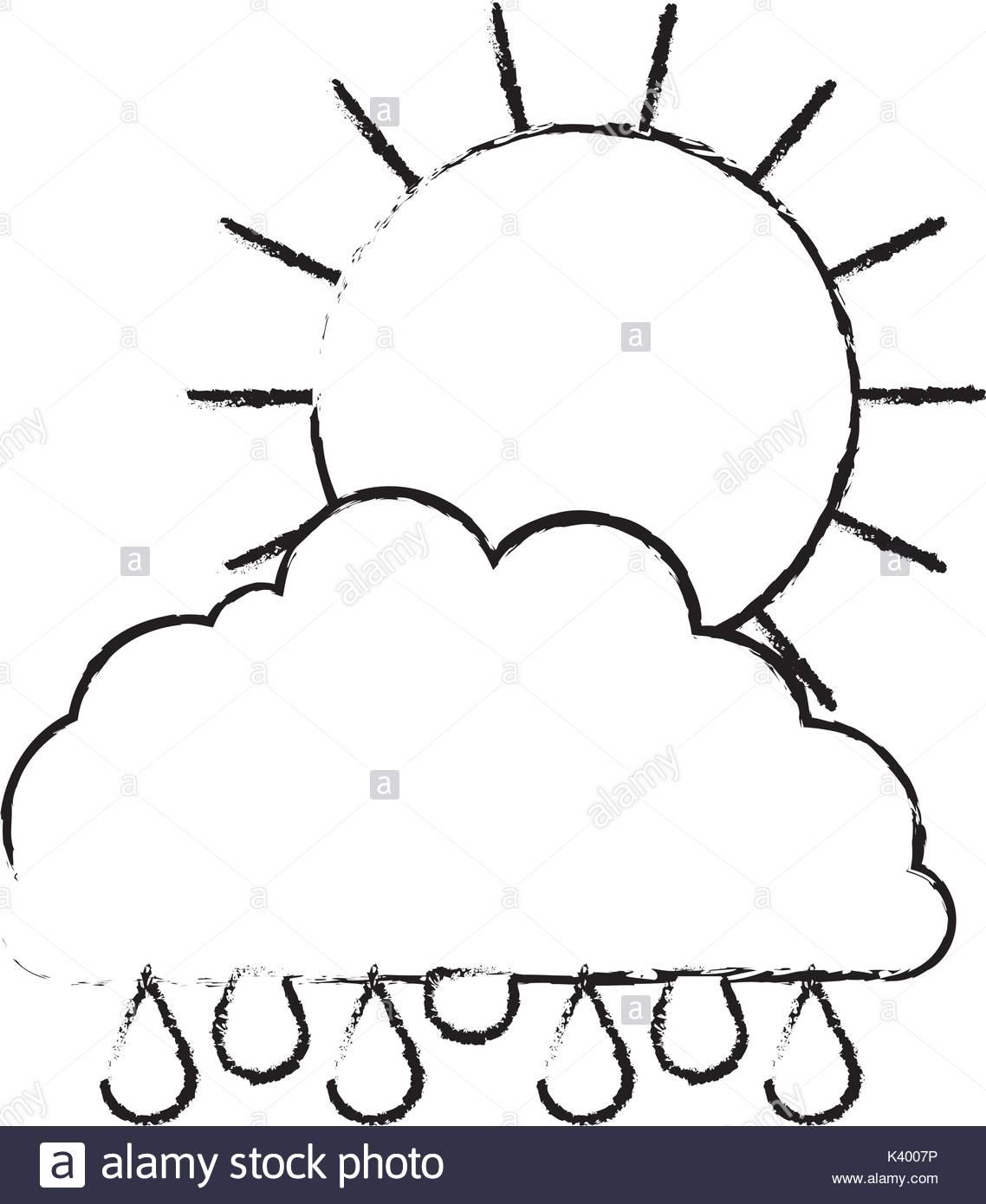 1138x1390 Sun And Cloud With Drops Rain In Monochrome Blurred Silhouette