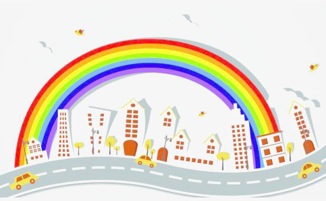 650x400 Rainbow Silhouette City, Rainbow, Element, Sketch Png Image