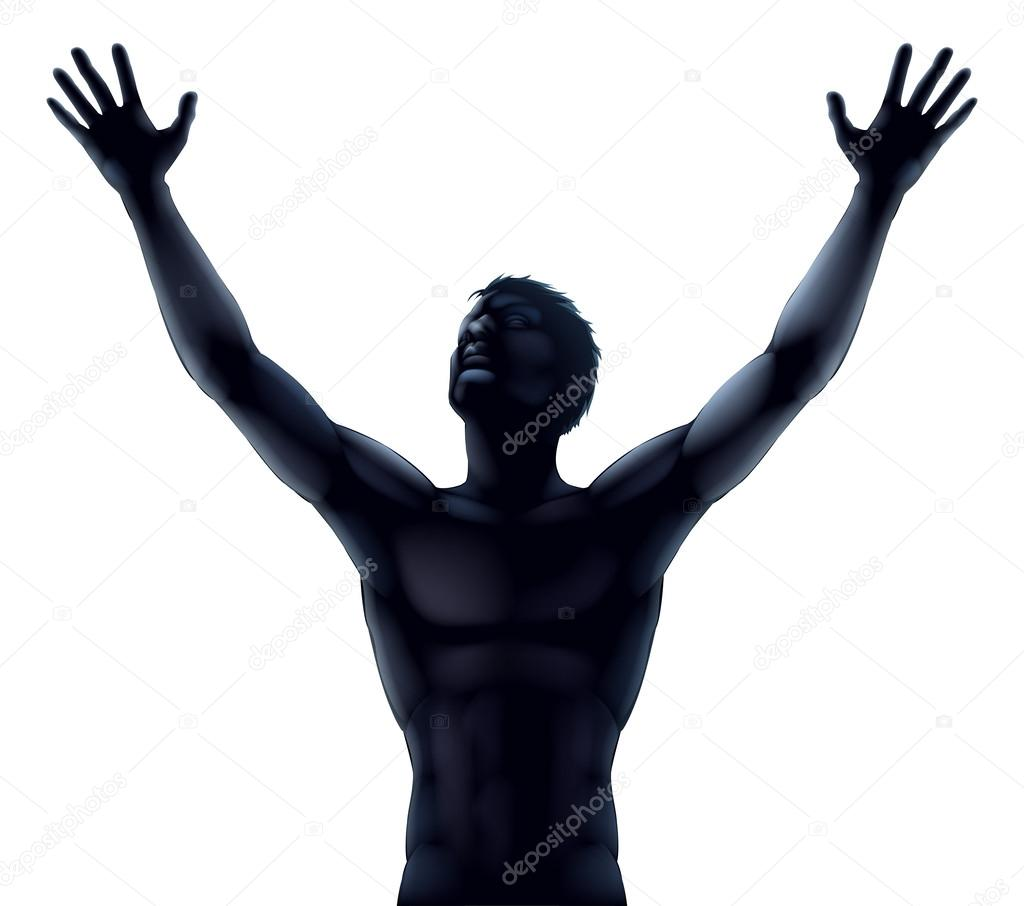 1024x906 Man Raising Hands Silhouette Clipart