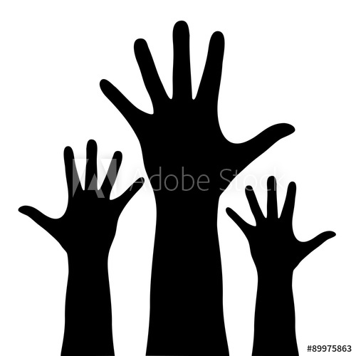 500x500 Raised Hands Silhouette Isolated On White