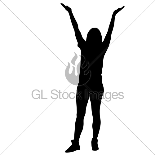500x500 Silhouette Of People Dancing With A Raised Hand On White Gl