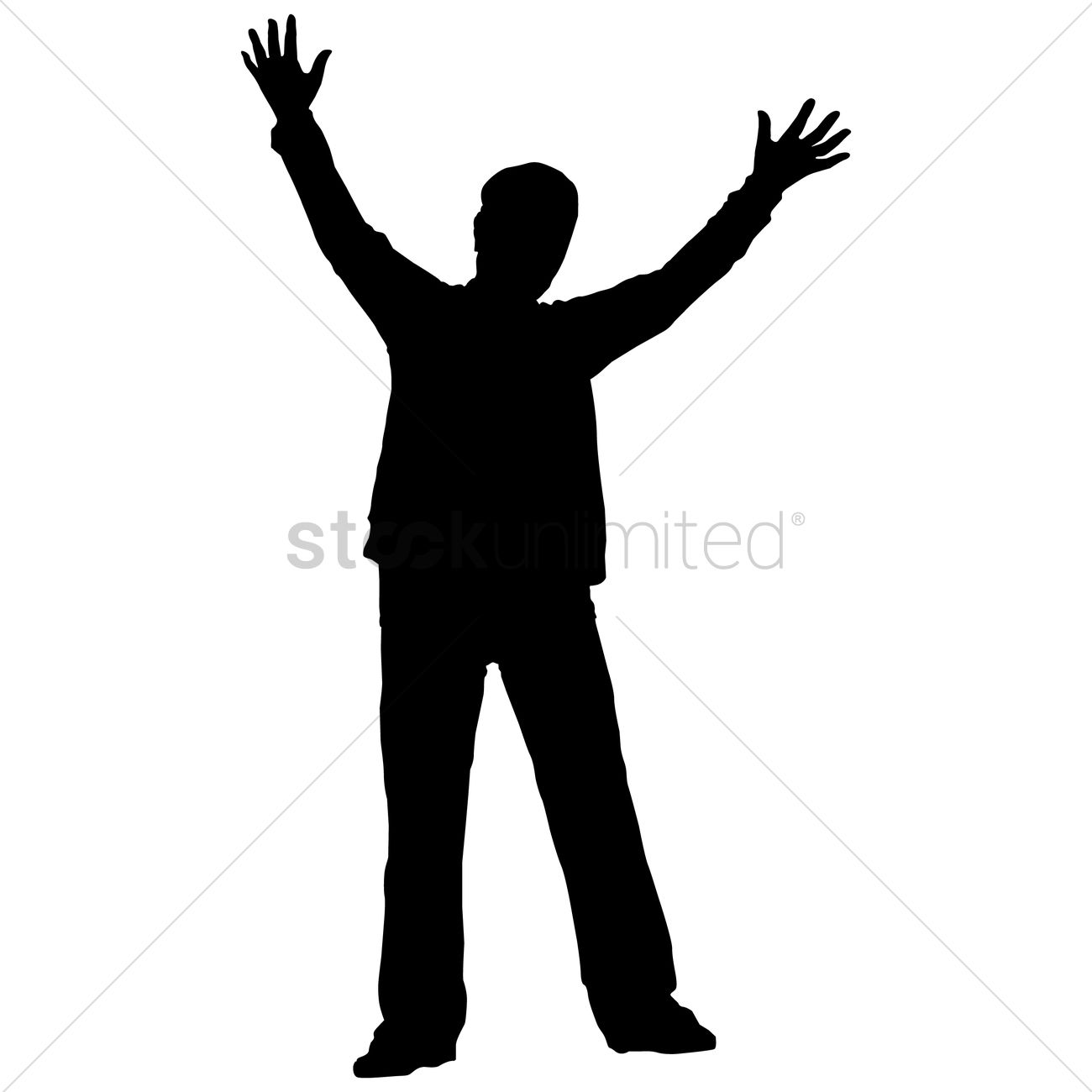 1300x1300 Silhouette Of A Man With Hands Raised Vector Image