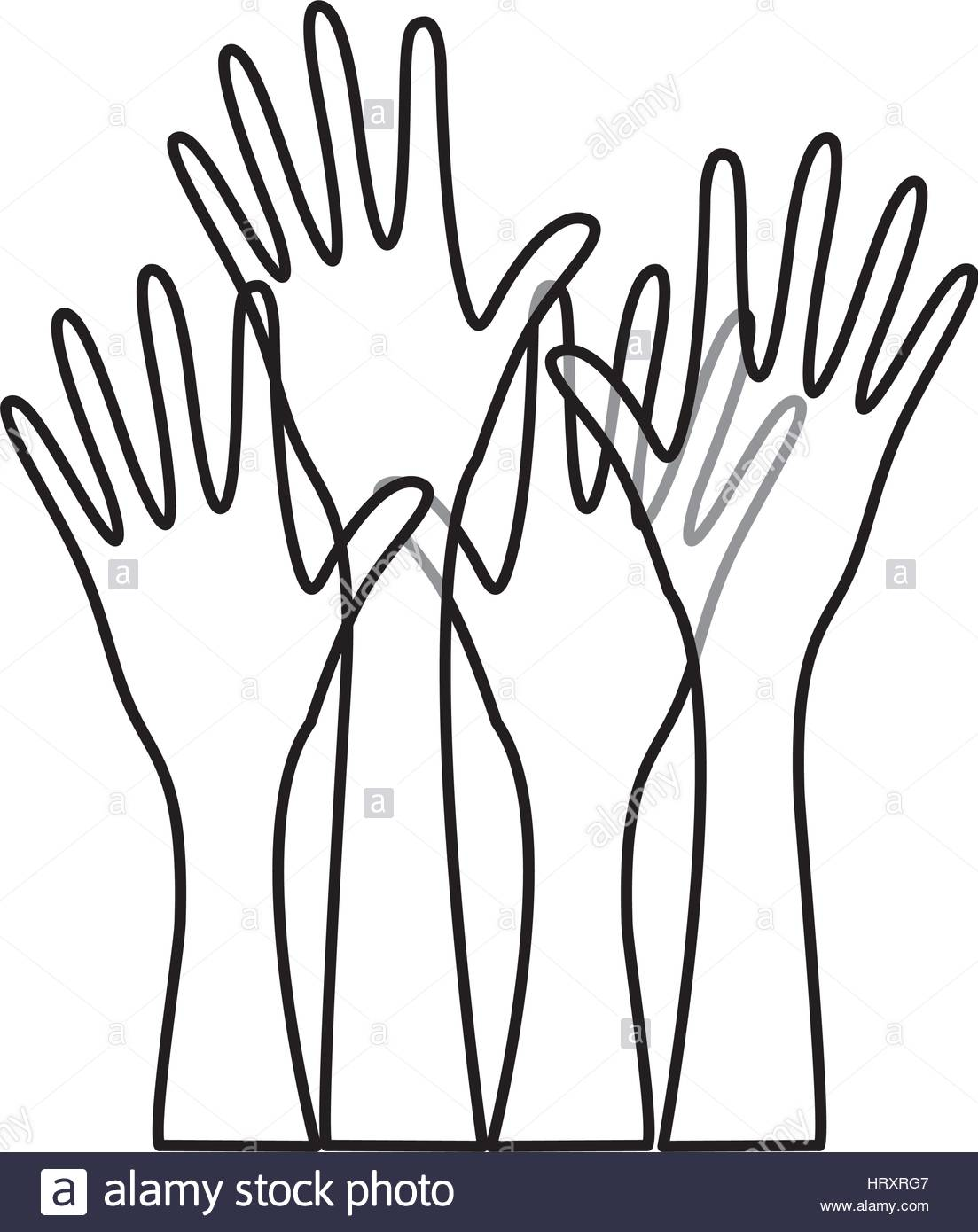 1103x1390 Hands Raised Stock Vector Images
