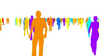 320x180 4k Silhouette Crowd Of People Moves, Side View Motion Background