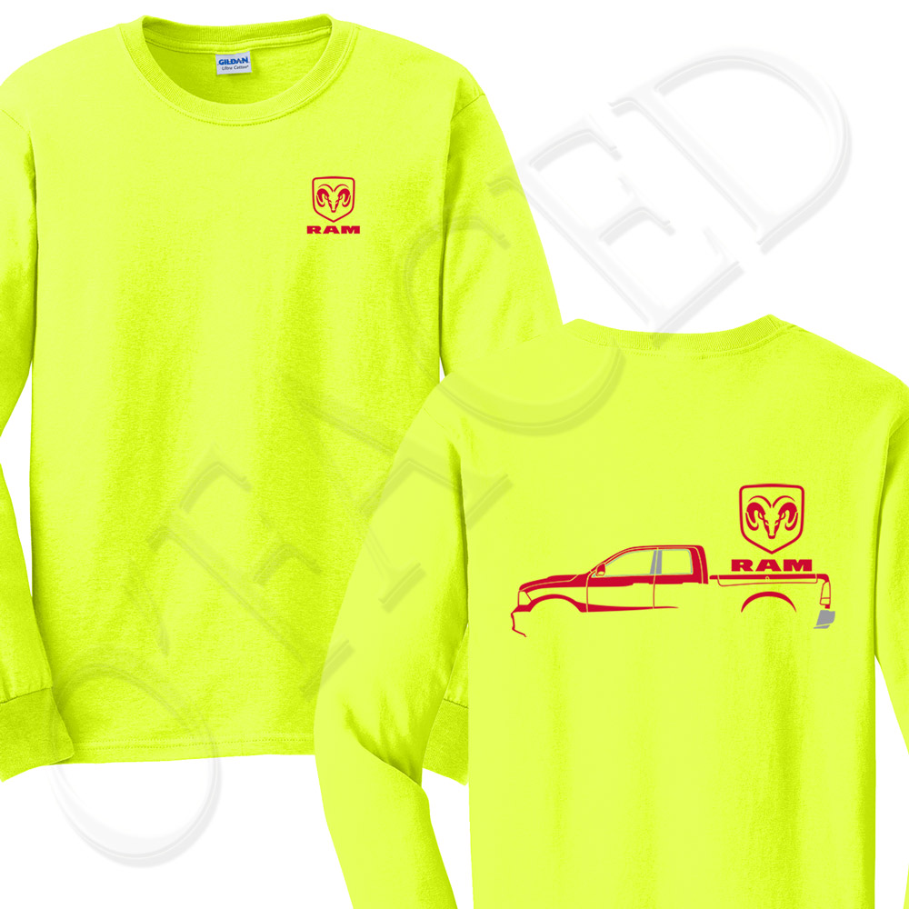 1000x1000 Ram Outline With Logo Men's Long Sleeve T Shirt Red Truck