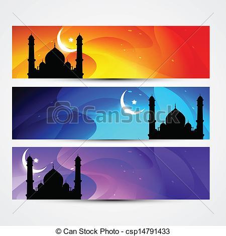 450x470 Colorful Eid Headers. Beautiful Colorful Set Of Ramadan Vectors