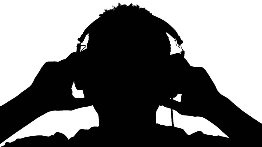 852x480 Silhouette Of A Man With Headphones On White Background Stock