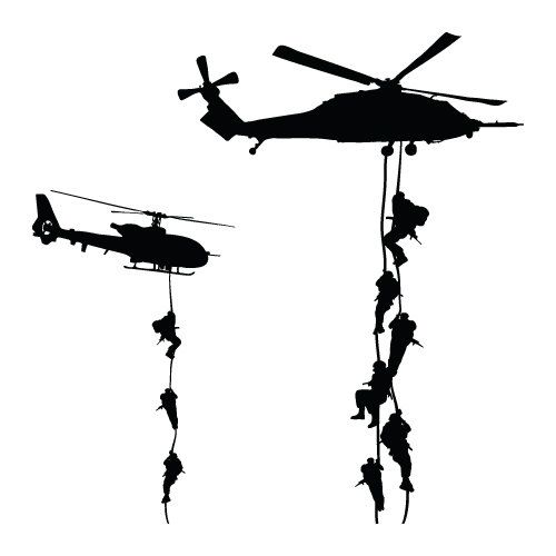 500x500 Military Helicopter Troopers Rappelling Wall Decal Vinyl Military