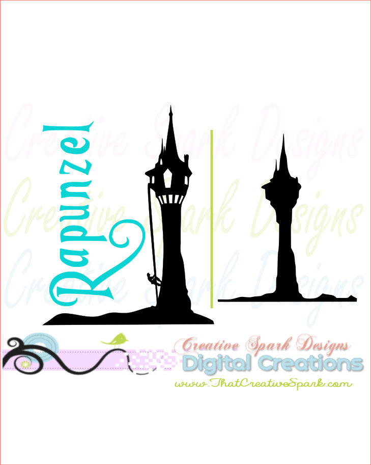 729x913 Rapunzel's Tower Silhouette Svg, Dxg, Png Image Set For Die