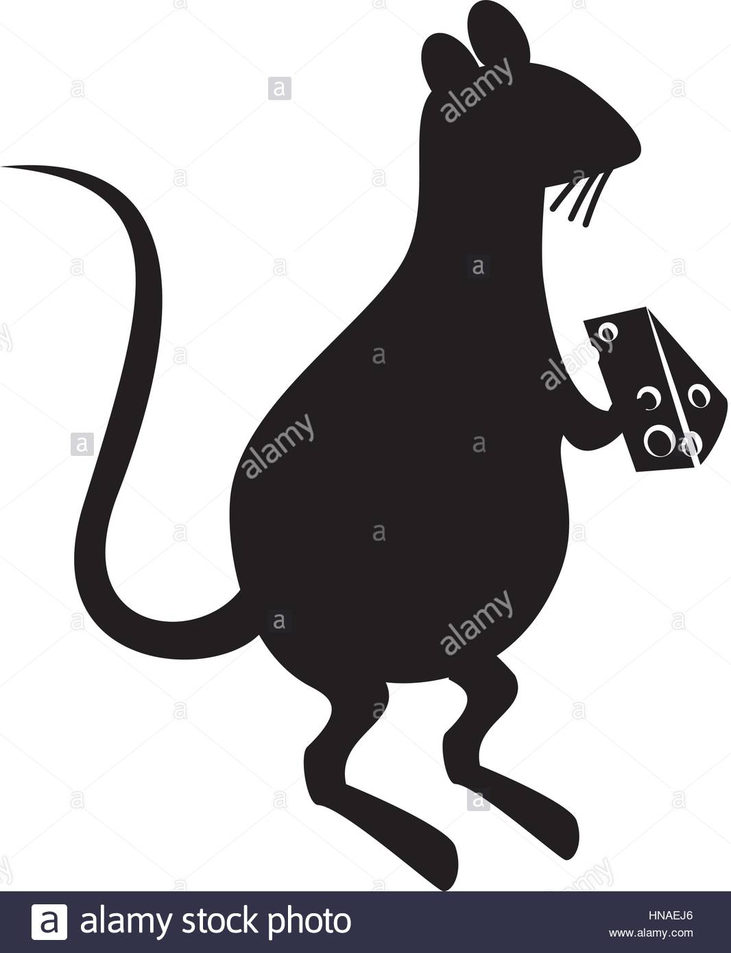 1066x1390 Rat Eating Cheese Silhouette Vector Illustration Design Stock