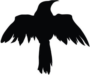 300x251 Raven Silhouette Vinyl Decal Sticker Raven Crow Birds Ebay