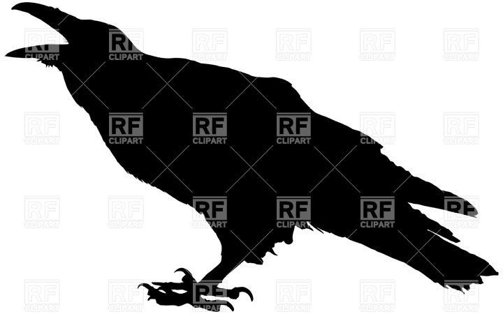 720x450 Cawing Raven Silhouette Royalty Free Vector Clip Art Image