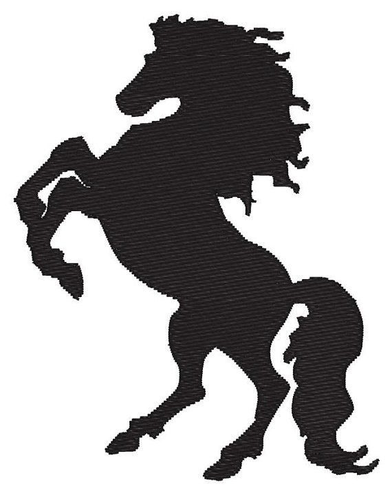 570x720 Horse Rearing Up Silhouette Embroidery Machine Design