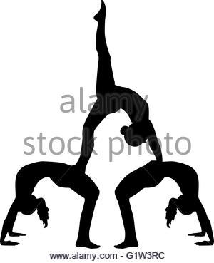 300x369 Acrobatics Silhouette Of Three People Stock Photo 104837611