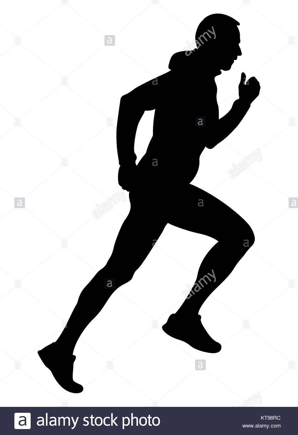 953x1390 Black Silhouette Male Runner Running Uphill In Hooded Jacket Stock