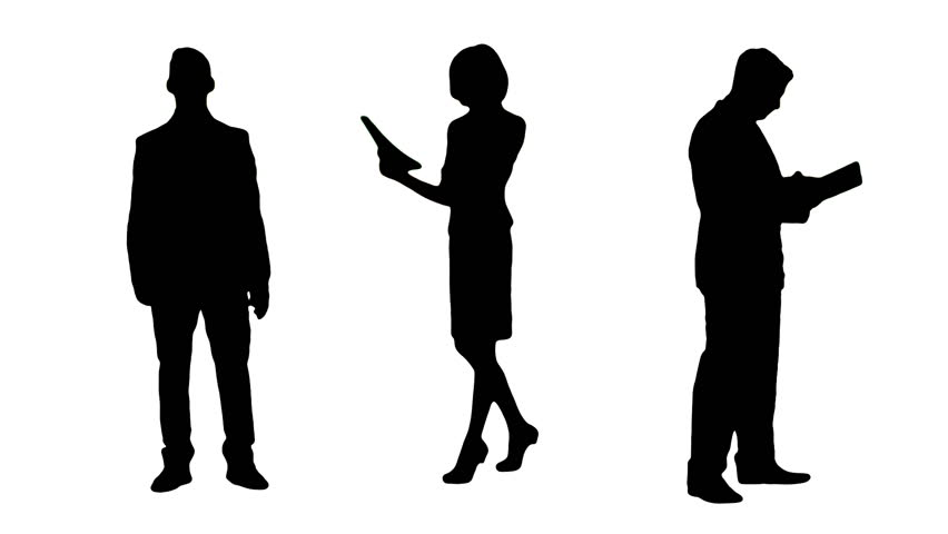 852x480 Multiple Silhouettes Of Busy Business People Working, Talking