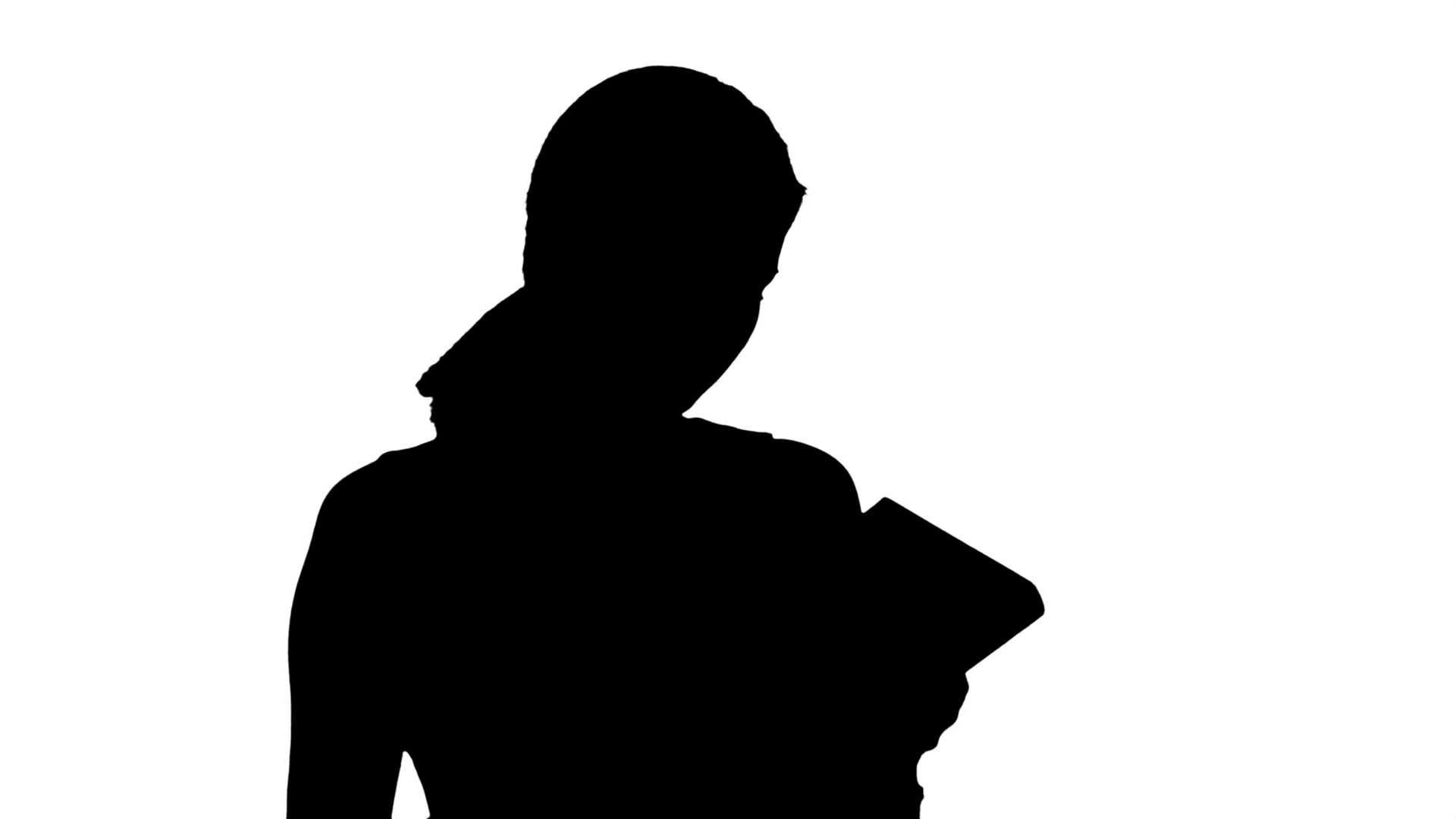 1920x1080 Silhouette Of Young Beautiful Girl Reading A Book Stock Video