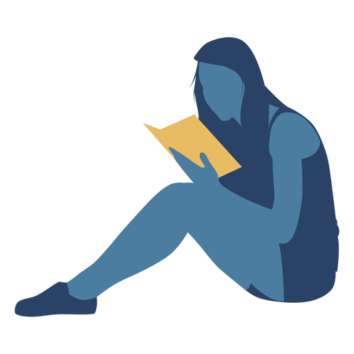512x512 Woman Reading Book Floor Silhouette