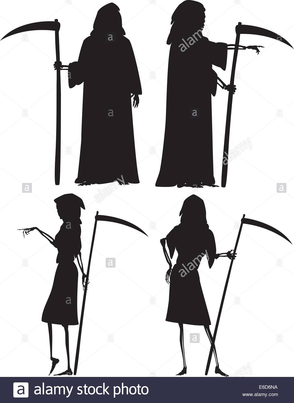 1013x1390 Editable Vector Silhouettes Of Grim Reaper And His Wife