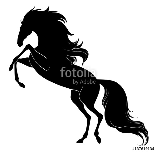 500x487 Silhouette Of A Rearing Horse With Long Mane And Tail Stock Image