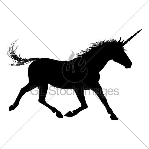 500x500 Unicorn Silhouette Gl Stock Images