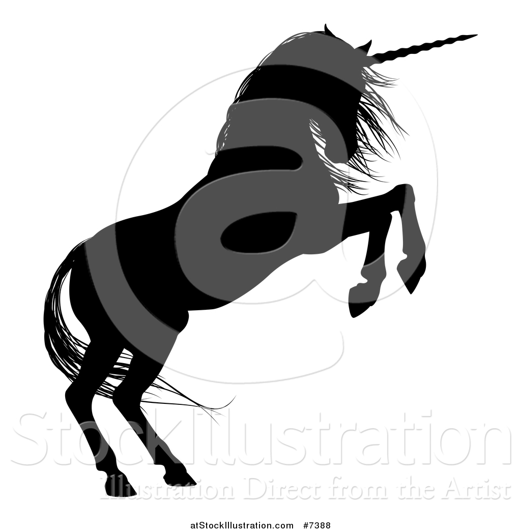 1024x1044 Vector Illustration Of A Black Silhouetted Rearing Unicorn