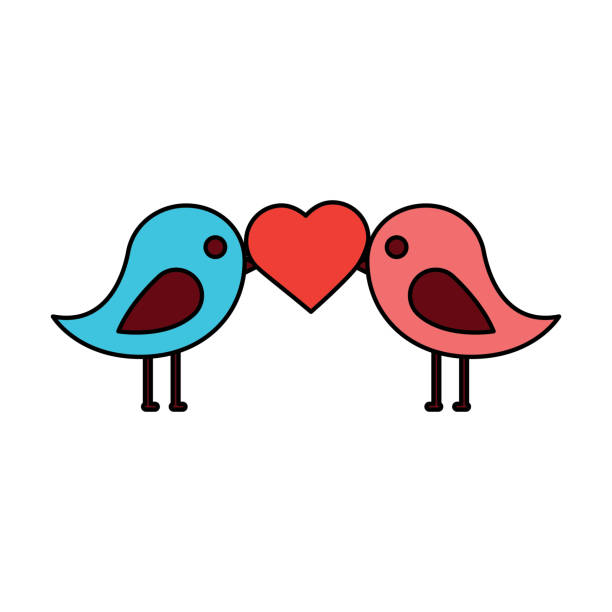 612x612 Clip Art Birds Kissing Love Silhouette 43
