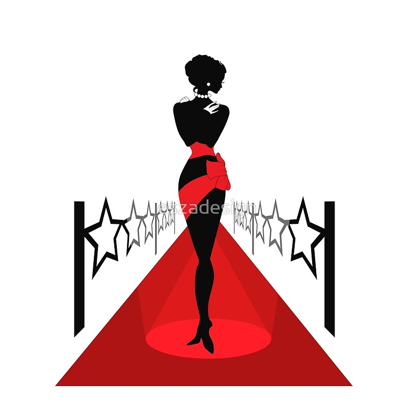 800x800 Woman Silhouette On A Red Carpet Scarves By Eszadesign Redbubble