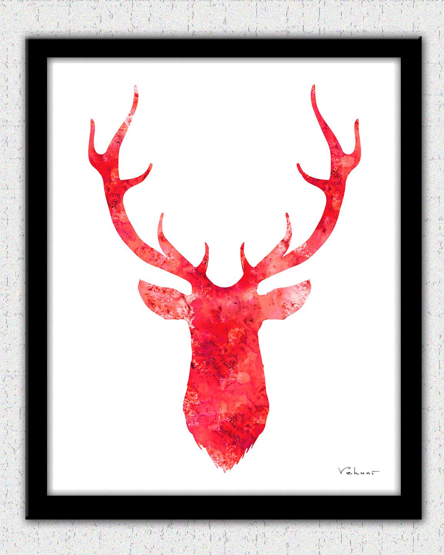 1152x1440 Red Deer Head 2 Deer Head Print Deer Head Art Stag Print