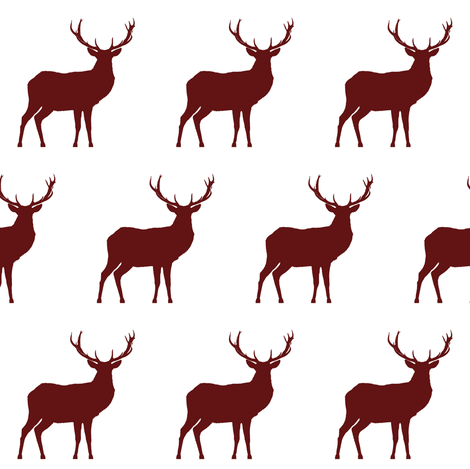 470x469 Red Deer Silhouette Fabric